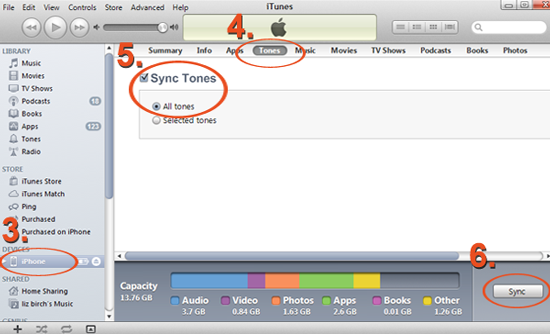 how to add tones to itunes library